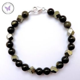 Men's Golden Obsidian & Pyrite Bracelet